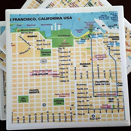 Amazoncom San Francisco Street Map Coasters Drink Coasters Set - Cork coaster bottoms