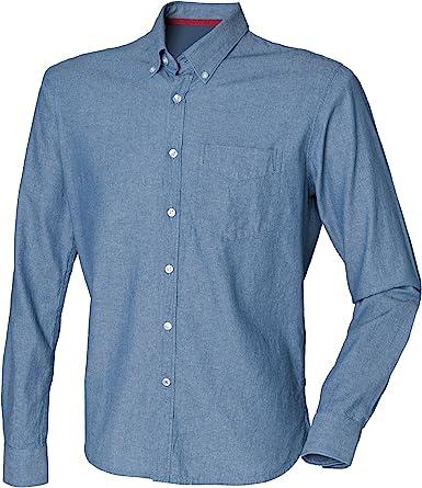 Front Row - Camisa 100% algodón manga larga Casual Diseño clásico Chambray Hombre hombre caballero - Trabajo/Fiesta/Boda: Amazon.es: Ropa y accesorios