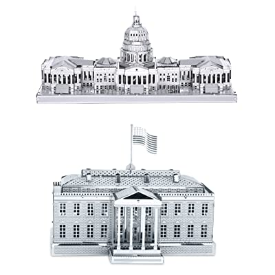 Metal Earth 3D Laser Cut Models - U.S. Capitol Building AND White House = SET OF 2: Toys & Games