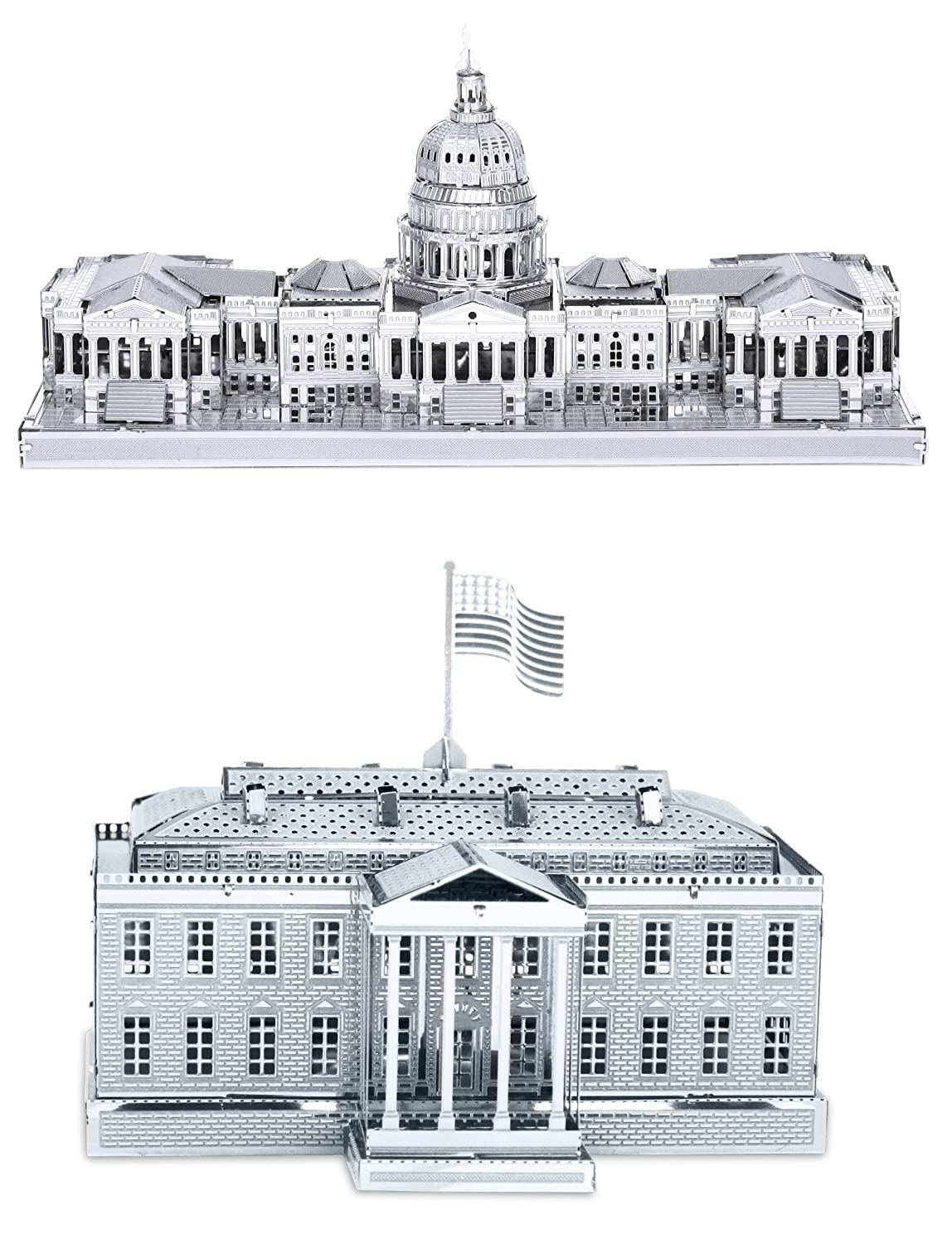 U.S Metal Earth 3D Laser Cut Models Capitol Building AND White House = SET OF 2 Fascinations SG/_B00J7WPH7S/_US