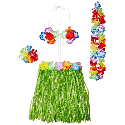 Child Hula Outfit Set Includes: Skirt, (Bikini Top, Wristlets/Anklets, Lei) Party Accessory (1 count) (1/Pkg): Childrens Costumes: Toys & Games