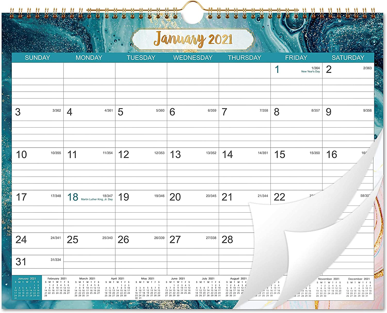 """2021 Calendar - Wall Calendar 2021 with Julian Date, Jan 2021 - Dec 2021, Twin-Wire-Bound, 14.76""""x 11.6"""", Thick Paper Perfect for Organizing & Planning, 6 Different Background Patterns"""