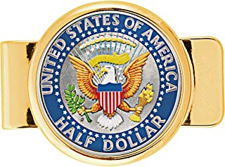 product image for Money Clip Presidential Seal Half Dollar Coin Goldtone | Brilliant Colorized Genuine JFK Half Dollar | Holds Currency, Credit and Business Cards |Certificate of Authenticity – American Coin Treasures