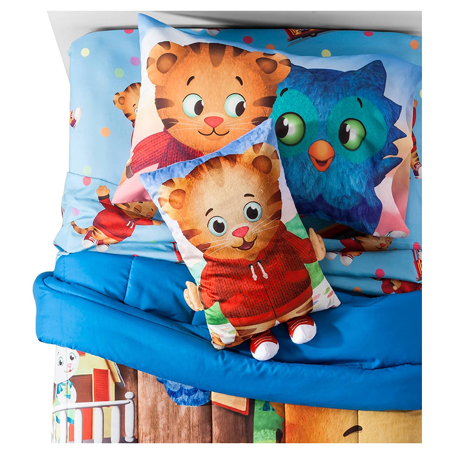 ダニエルTigersツインComforter and Sheet Set with Pillow Buddy and Throw B0771QM3SW