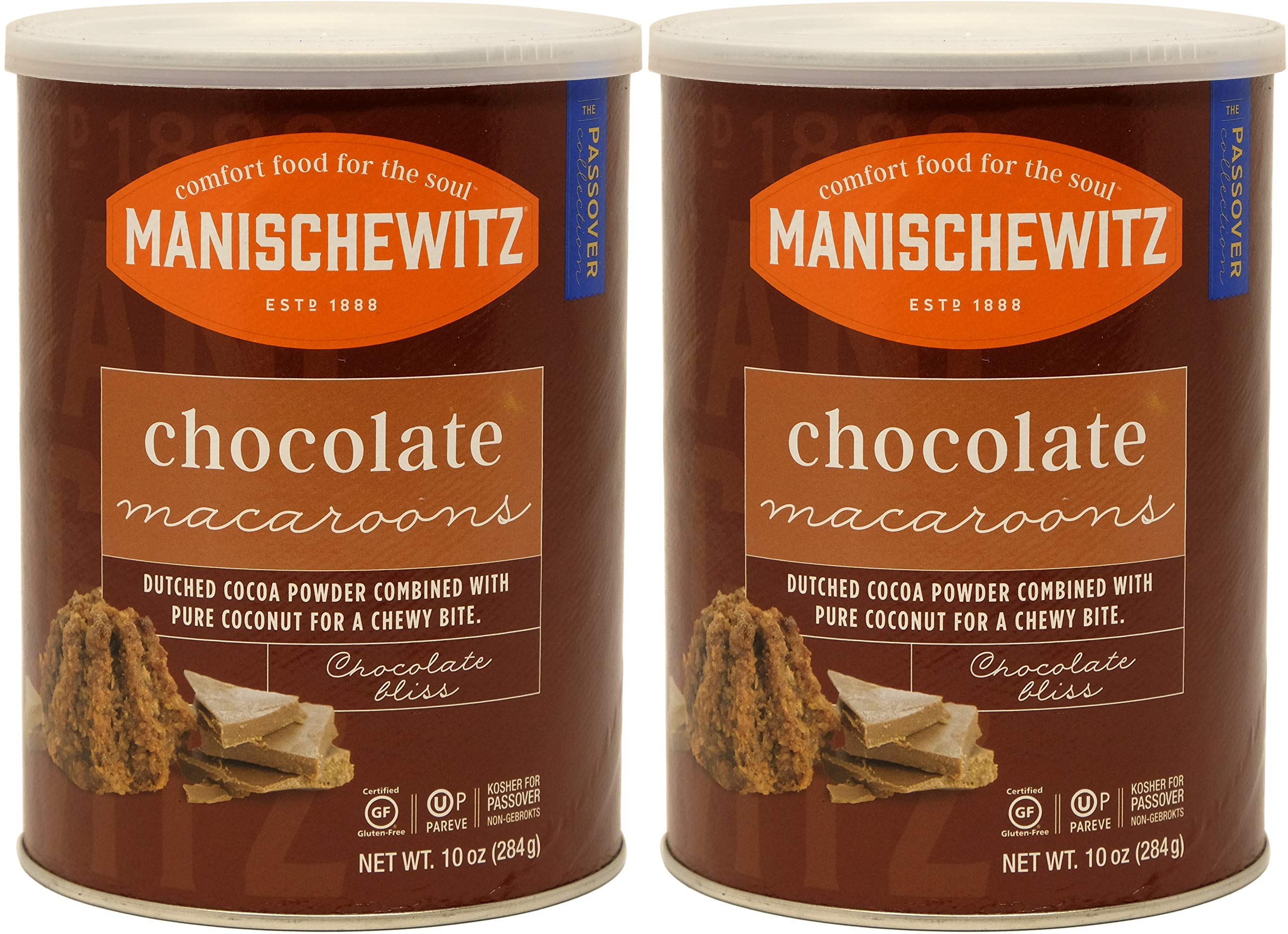 Manischewitz Macaroon Chocolate, Kosher For Passover, 10 Ounce Canister (Pack of 2, Total of 20 Oz)