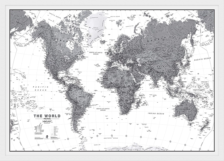 Australia Map Black And White.Amazon Com Maps International Large Political World Wall Map
