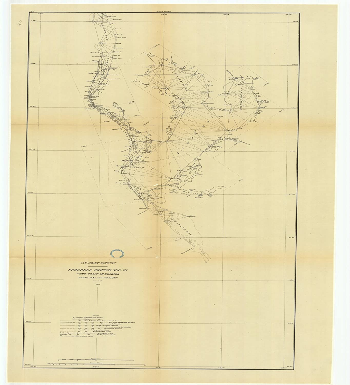 Amazon.com: Vintography 18 x 24 Canvas 1877 US Old Nautical map ...