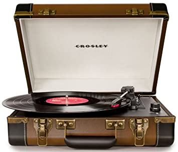 Crosley Executive - Tocadiscos Estilo Maletín Ejecutivo de 3 velocidades (con Enchufe Reino Unido, Puerto USB y Altavoces estéreos incorporados, ...