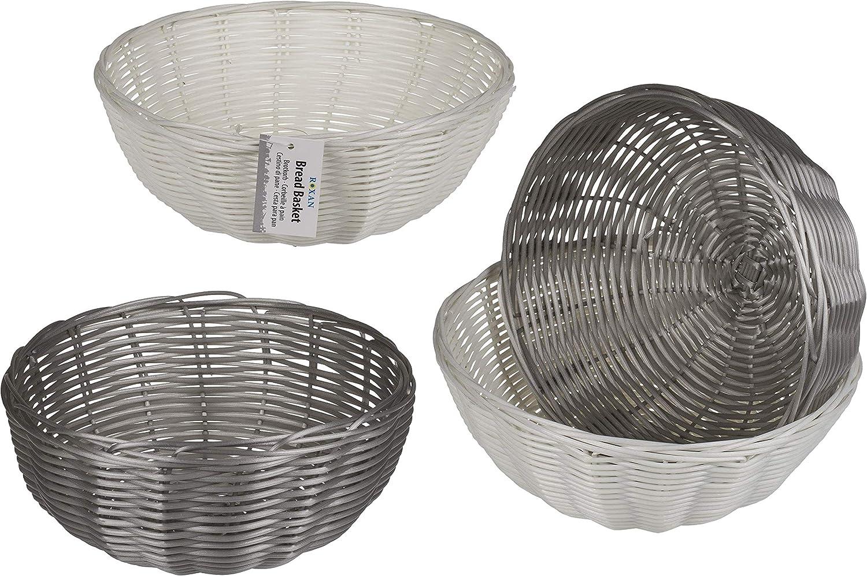 Invero - Juego de 2 cestas de plástico para Cocina, 20 cm, diseño Redondo, Ideal para Pan, Frutas, Regalos y más, Color Gris y Blanco
