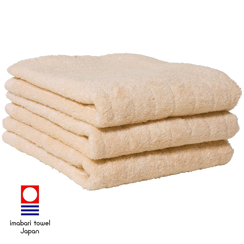 hiorie(ヒオリエ) 今治タオル ふわふわリブタオル フェイスタオル 3枚セット 日本製 貴重な超長綿使用 ナチュラル