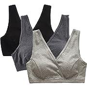 CAKYE Women's Maternity Nursing Bra for Sleep and Breastfeeding 3 Pcs/Pack (Large/38B,38C,38D, Black/Gray/Dark Grey)