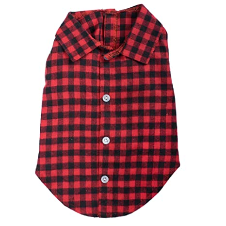 04c3f31a Amazon.com : Buffalo Plaid Shirt, Red/Black, S : Pet Supplies