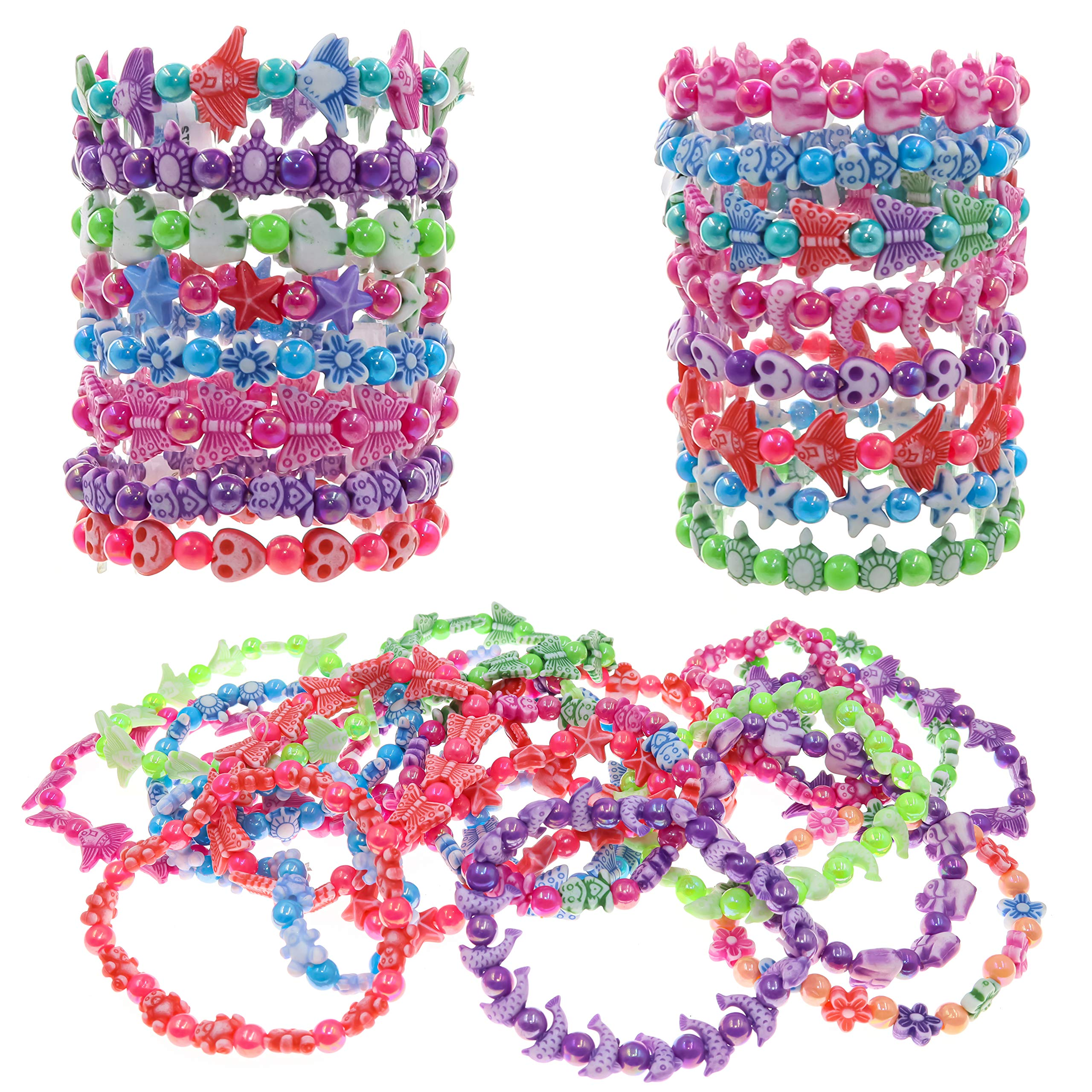 FROG SAC 36 Cute Bracelets for Little Girls - Multicolored Beads Bracelet Set - Stretchy Cute Animal Beaded Party Favor Bracelets - Great Stocking Stuffers for Kids by FROG SAC