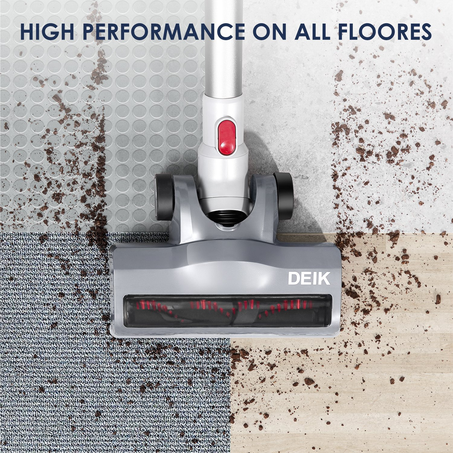 Deik Cordless Vacuum Cleaner Stick and Handheld Vacuum with Powerful Suction /& Wall-Mount Silver