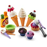 JaxoJoy Ice Cream Set – Ice Cream Shop Gift Playset for Kids with Play Pretend Ice Cream, Cones, Cups, Spoons, Scoop, Toppings & More – Recommended Ages 3 & Up