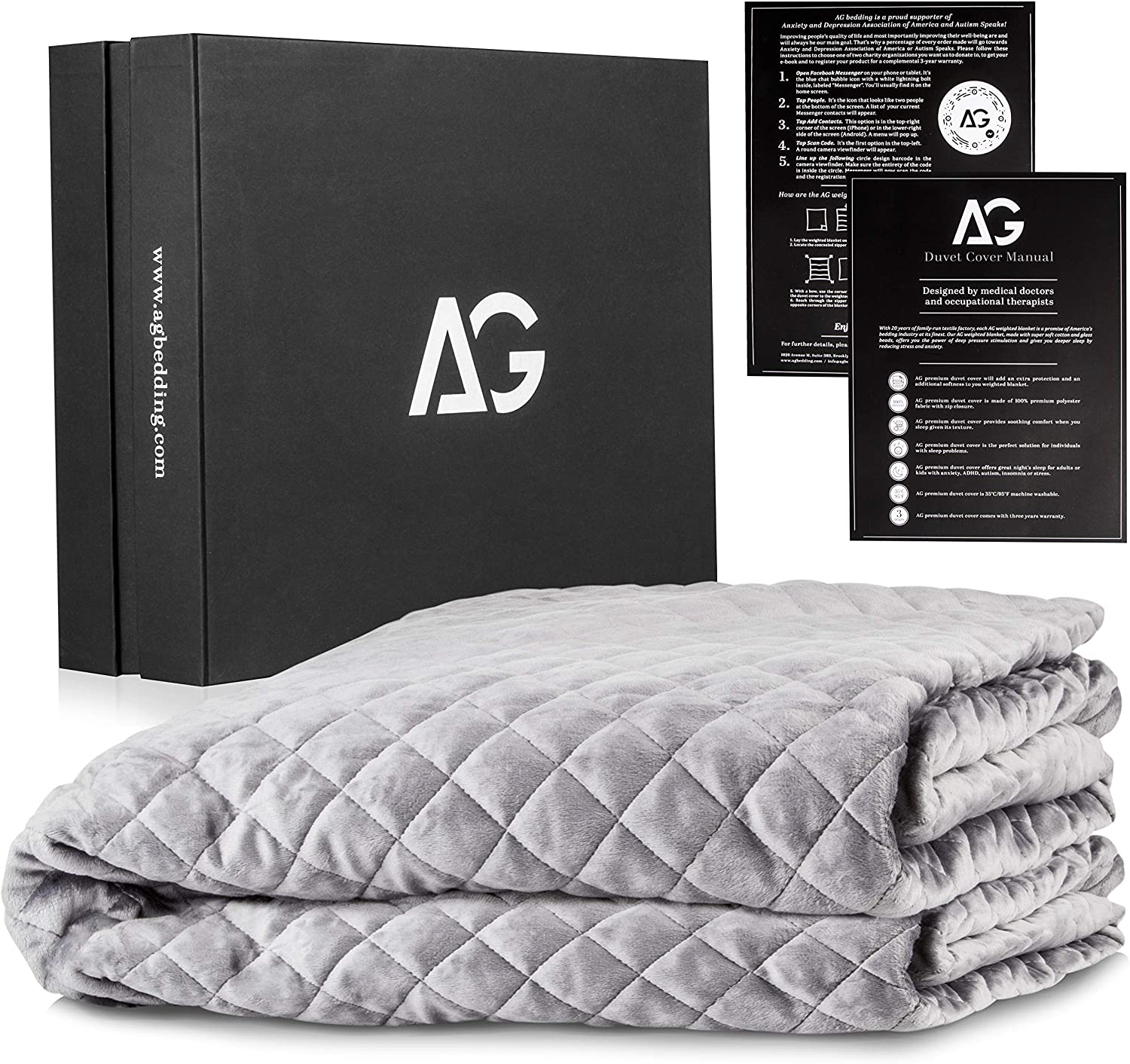 AG Bedding Removable Duvet Cover for Weighted Blanket - Duvet Cover - 48 x 78 Inches - Designed for Weighted Blanket Adult | Light Grey