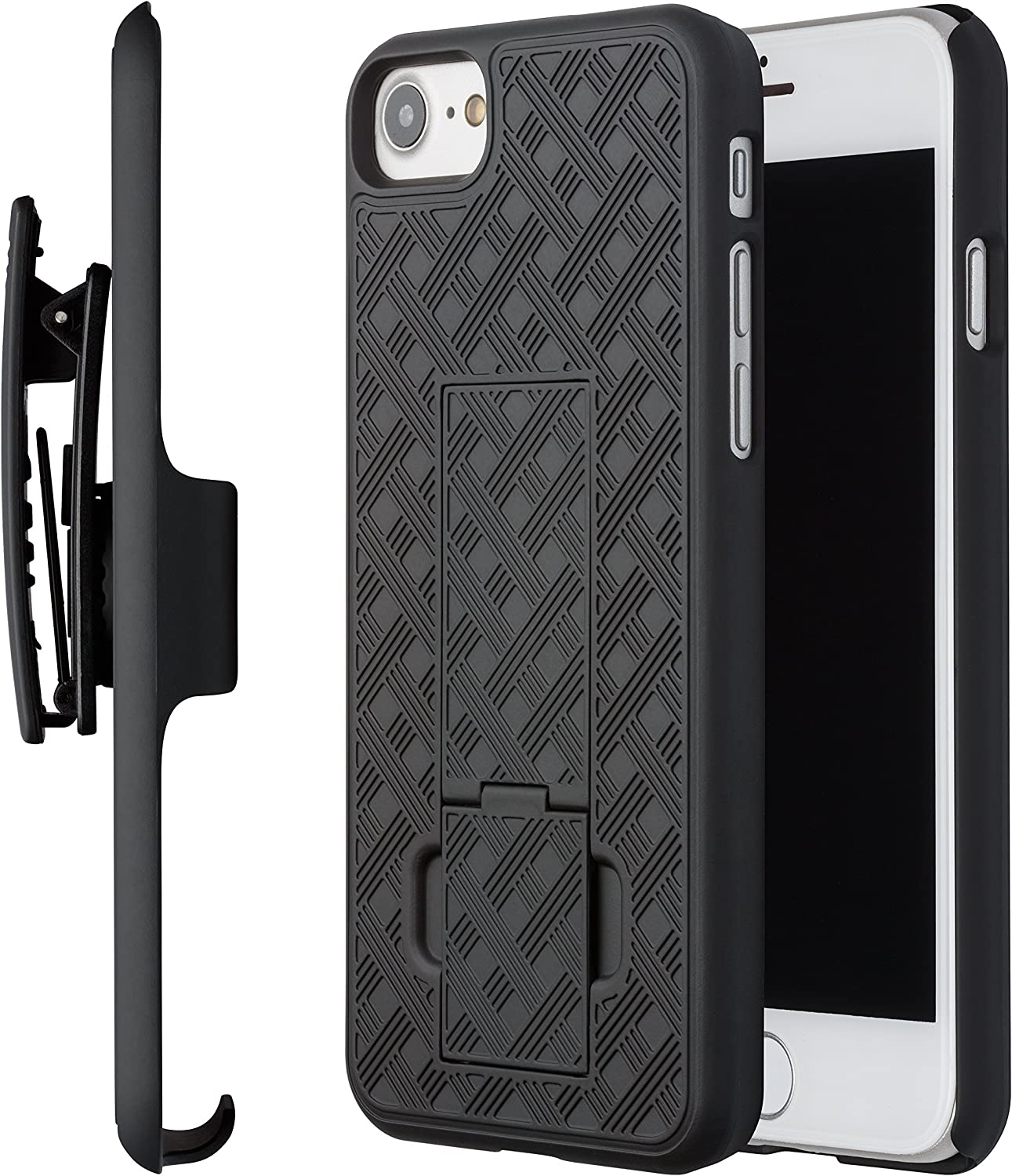 iPhone 8 Plus Case, Moona Shell Holster Combo Case for Apple iPhone 8 Plus with Kickstand & Belt Clip '2 Year Warranty' - iPhone 8 Plus Belt Clip Case Thin Holster
