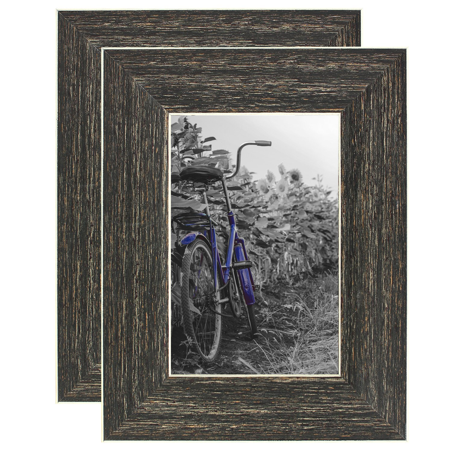 Americanflat 2 Pack - 4x6 Barnwood Rustic Style Picture Frames - Built-in Easels - Wall Display - Tabletop Display by Americanflat