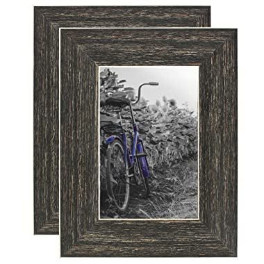 Americanflat 2 Pack - 4x6 Barnwood Rustic Style Picture Frames - Built-in Easels - Wall Display - Tabletop Display