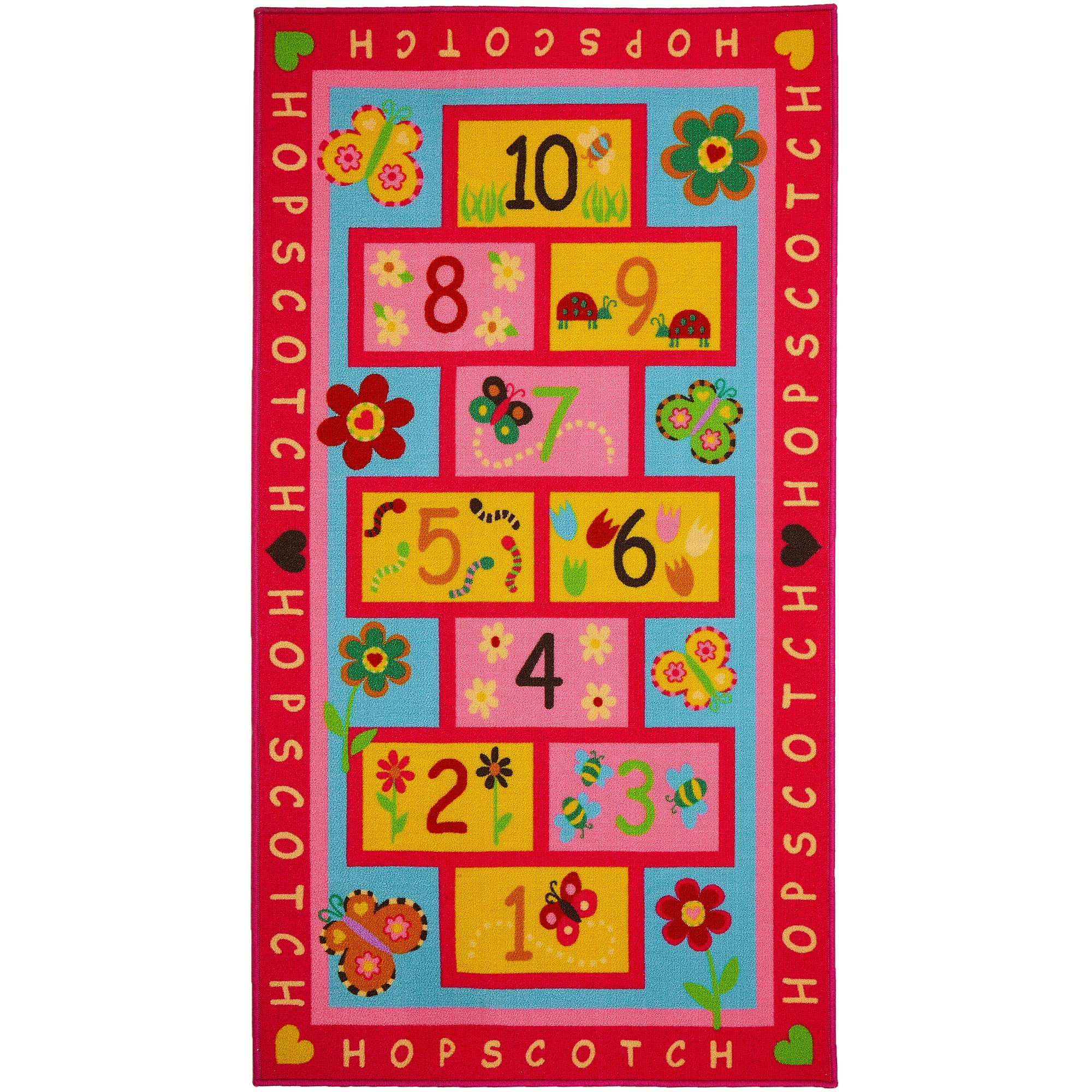 Hopscotch Rug, Extra Large & Wide 72''x39'' | Hop & Count - Educational & Fun | Durable Woven Floor Carpet, Kid's Floor Play Mat for Bedroom, Nursery, Classroom - Sturdy, Skid-Proof by Amy & Delle by Amy & Delle