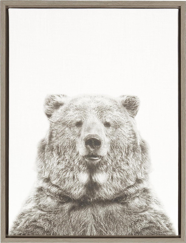 Kate and Laurel Sylvie Bear Animal Print Black and White Portrait Framed Canvas Wall Art by Simon Te Tai, 18x24 Gray