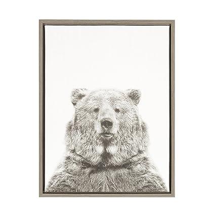 Amazon.com: Kate and Laurel Sylvie Bear Black and White Portrait ...
