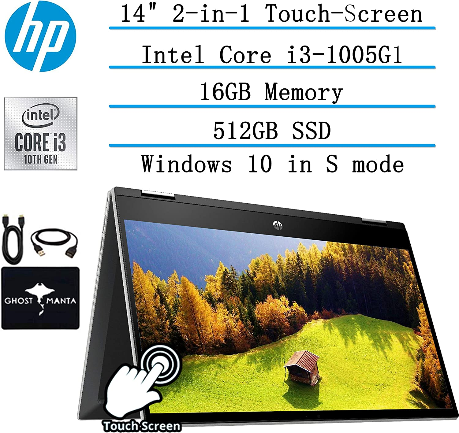 "2020 Newest HP Pavilion x360 2-in-1 Convertible 14"" HD Touch-Screen Laptop, 10th Gen Intel Core i3-1005G1(Up to 3.4GHz, Beat i5-7200U), 16GB RAM, 512GB SSD, Webcam, Wifi, HDMI, Win10, w/GM Accessories"