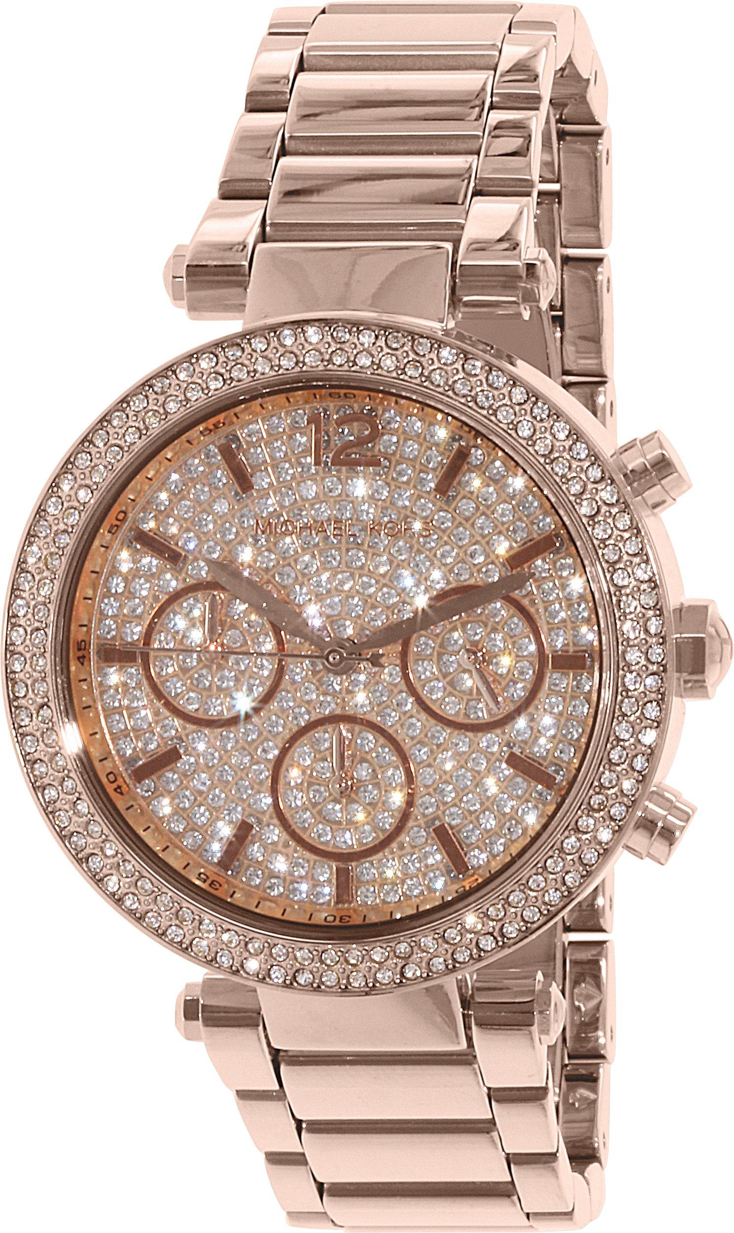 Michael Kors Parker Rose Gold Stainless Steel Glitz Dial Women's Chronograph Watch MK5857