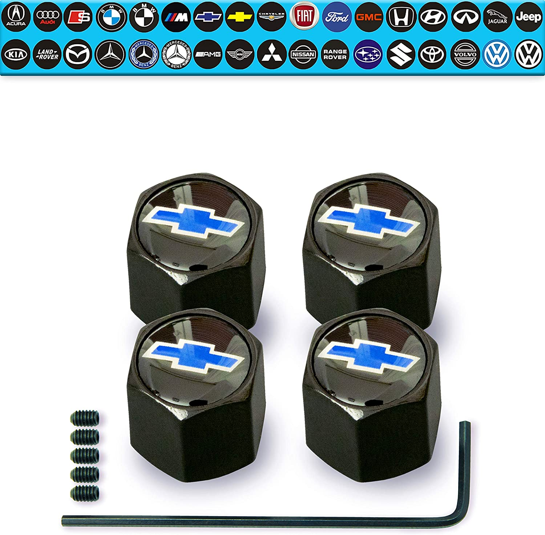 Seat Black top Blue Wheel Valve Dust caps ANTI THEFT all Models