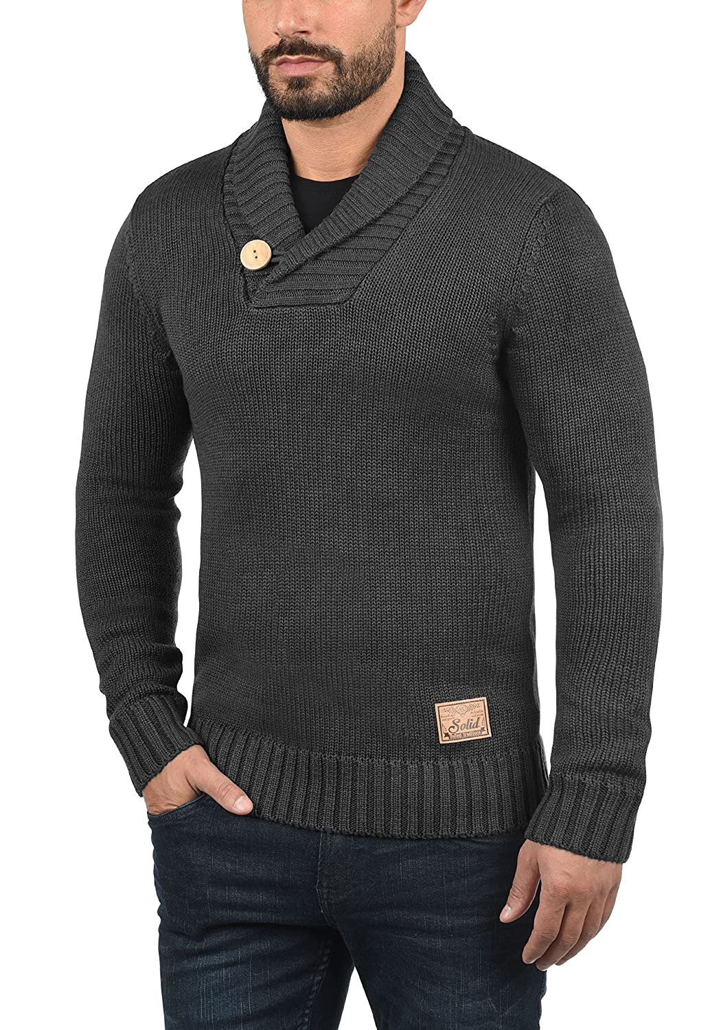 Solid Paddy Pull En Grosse Maille Pull-Over Tricot Pour Homme Avec Col Ch/âle