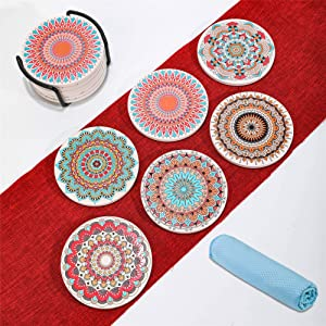 NEKLJJ Cork Stone Coasters for Drinks Absorbent - Cup Coasters with Holder,3D Relief Texture on The Surface of Coasters,Prevent Furniture from Dirty and Scratched, Set of 6