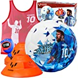Kids Soccer Training Set - 7 pc Football Time Zone Kit - Size 4 Youth Soccer Ball with 4 Cones, Stopwatch Timer, and…