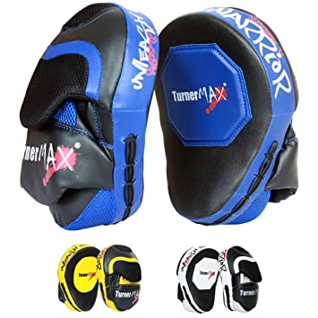TurnerMAX Muay Thai Pads KickBoxing Focus Pads MMA Thai Pads Yellow Black Pair
