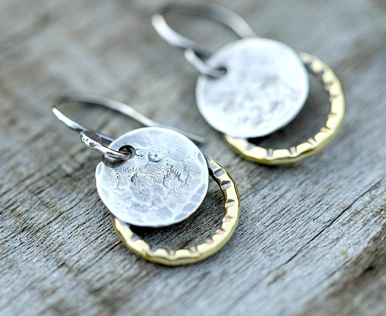 Sterling silver moon earrings dangle earrings gift for her