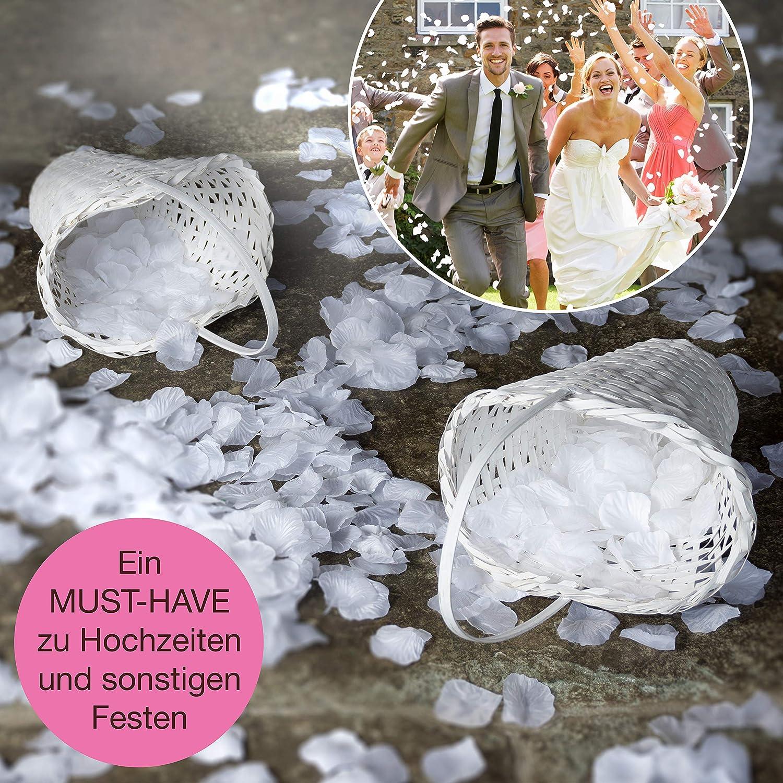 non-brand 2X Doppel Bowknot Blumenkorb Hochzeit Korb Blumenm/ädchen K/örbchen aus Satin und Spitze
