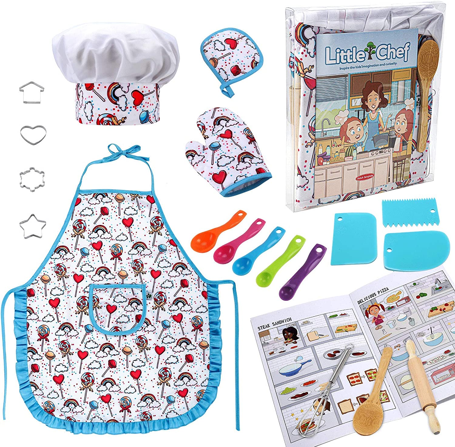 Kids Cooking and Baking Set 20Pcs, Kids Chef Hat and Apron for Children Toddler Girl Birthday Gift for 3 4 5 6 7 8 Year Old Girls Toys