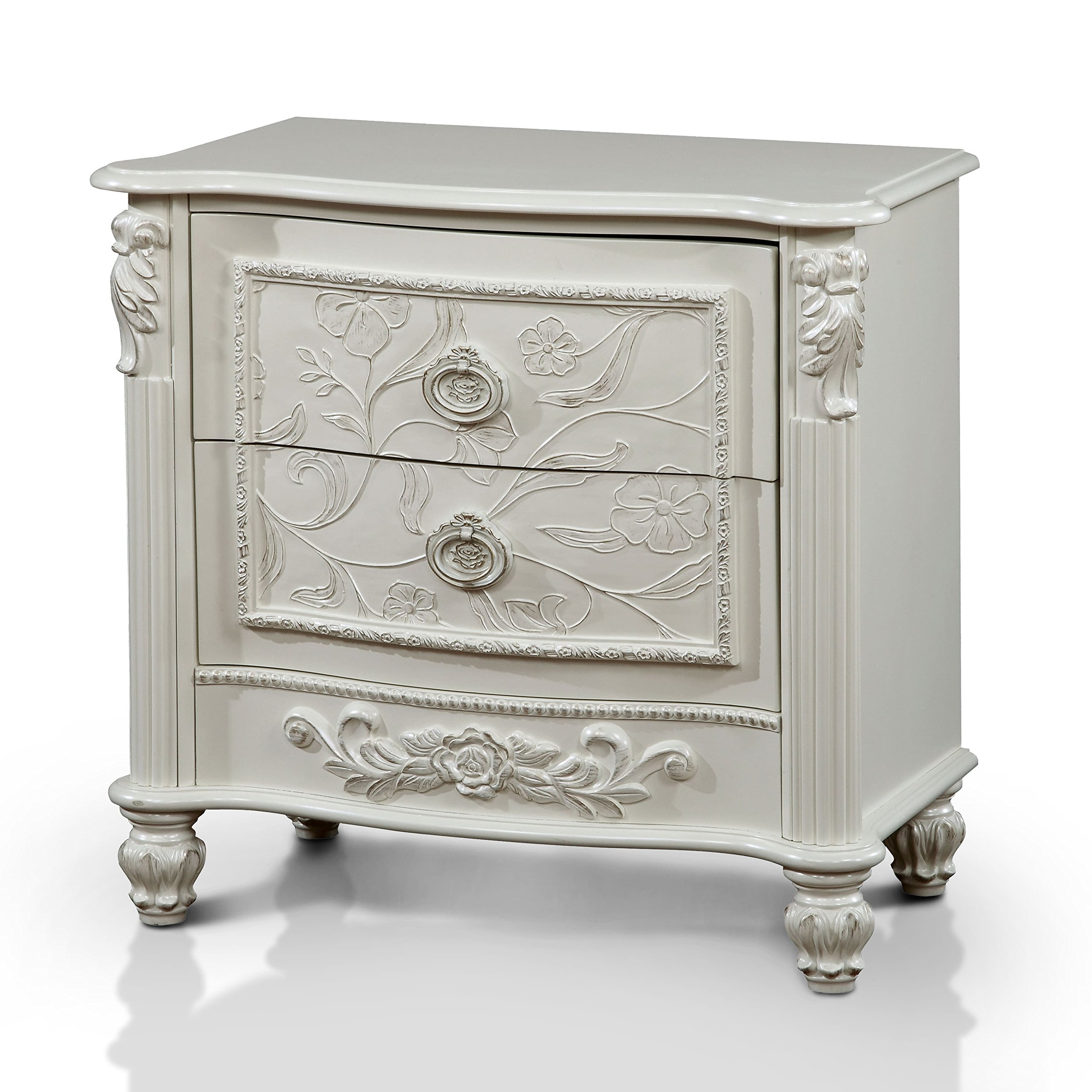 Furniture of America Margie Traditional Elegant Fairy Tale Style 2-drawer White Nightstand by Furniture of America