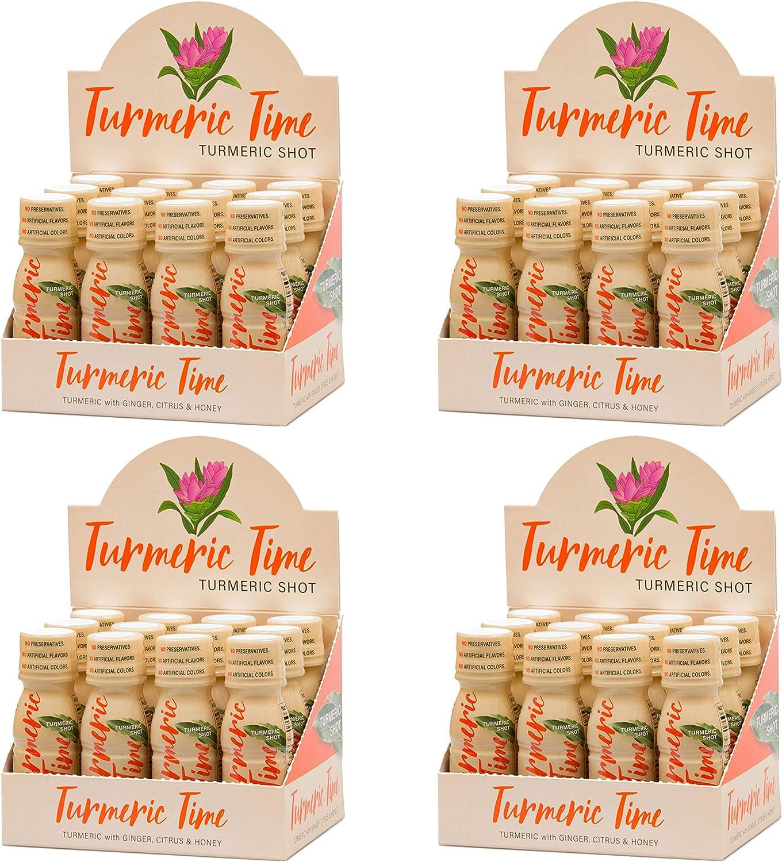 Turmeric Time Turmeric Shots – Turmeric with Ginger, Citrus Honey Non-GMO No Preservatives or Artificial Flavors Colors Sweeteners B Vitamins Liquid Turmeric 48 Pack
