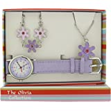 Kinderuhr Set Mädchen-Armbanduhr, Blumen - Anhänger und Armband KS001