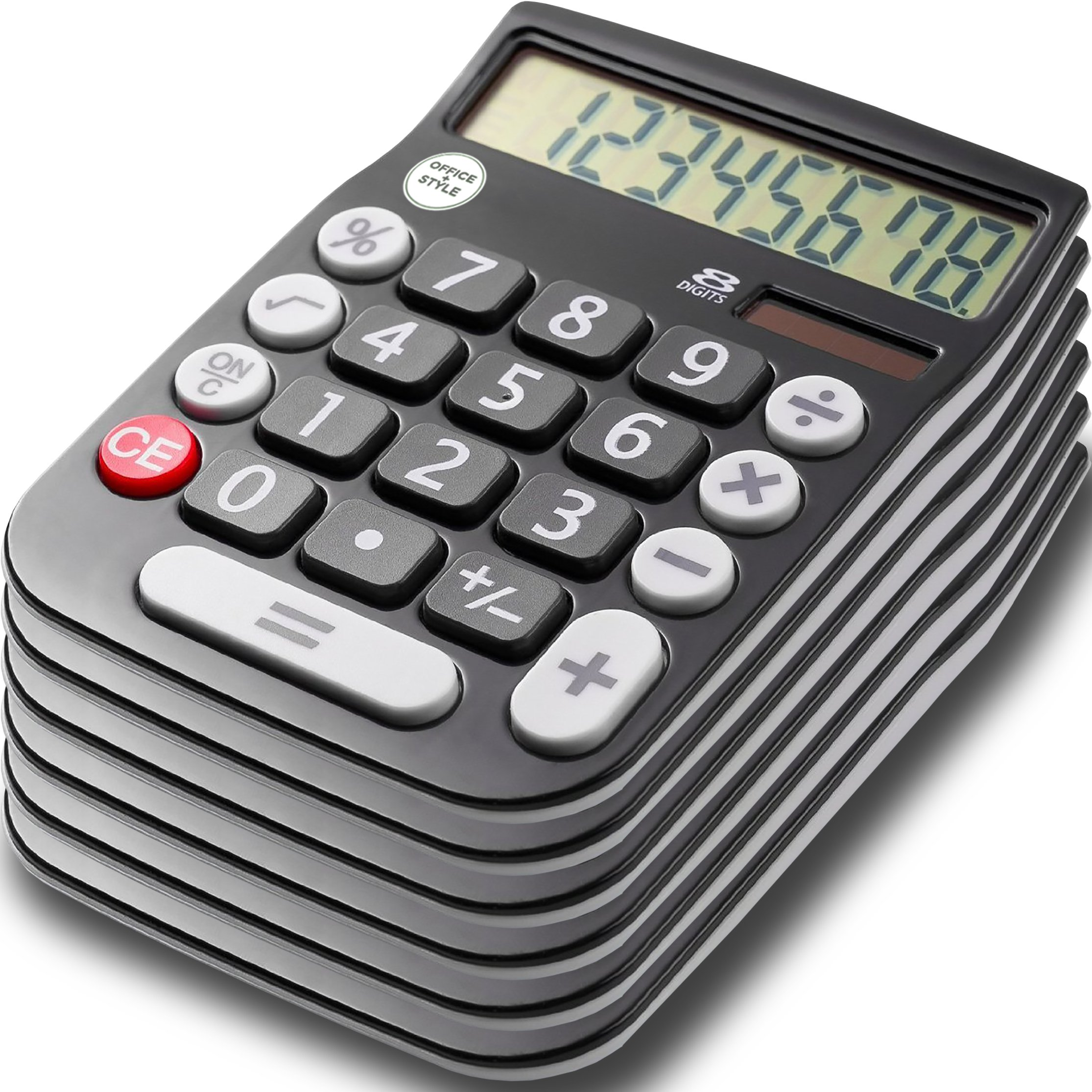 Office Style 8 Digit Dual Powered Desktop Calculator, Large LCD Display, Black (Pack Of 6) by Office Style