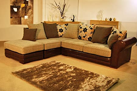 Colorado Sophisticated Brown Leather and Chenille Corner Sofa ...