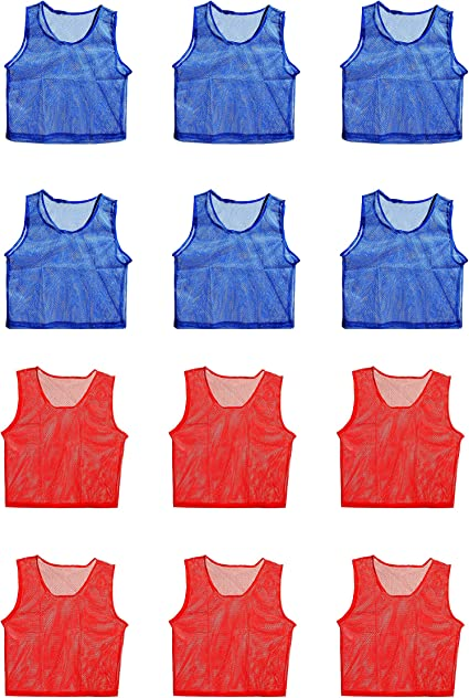 Nylon Mesh Scrimmage Team Jerseys for Adult  Sports Red 12 Jerseys