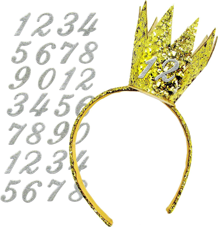 Amazon.com: Diadema para fiesta de cumpleaños con números de ...