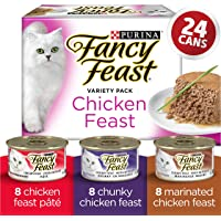 Fancy Feast Wet Cat Food, Chicken Feast Chunky & Marinated Variety Pack 85 g Cans (24 Pack)