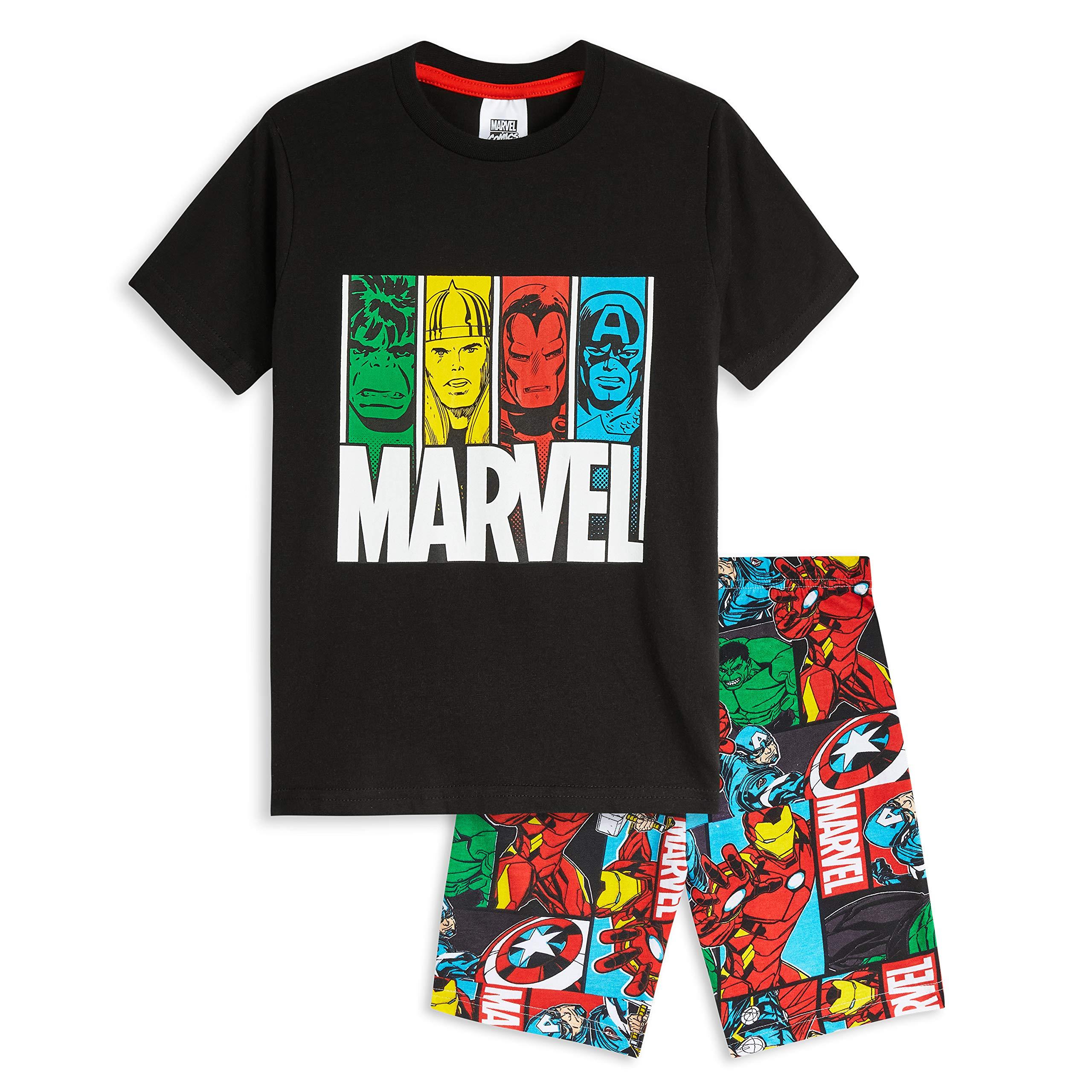 Marvel Boys Avengers Long Pyjamas Pjs Full Length Nightwear Set Kids Super Hero Hulk Thor Captain America Iron Man