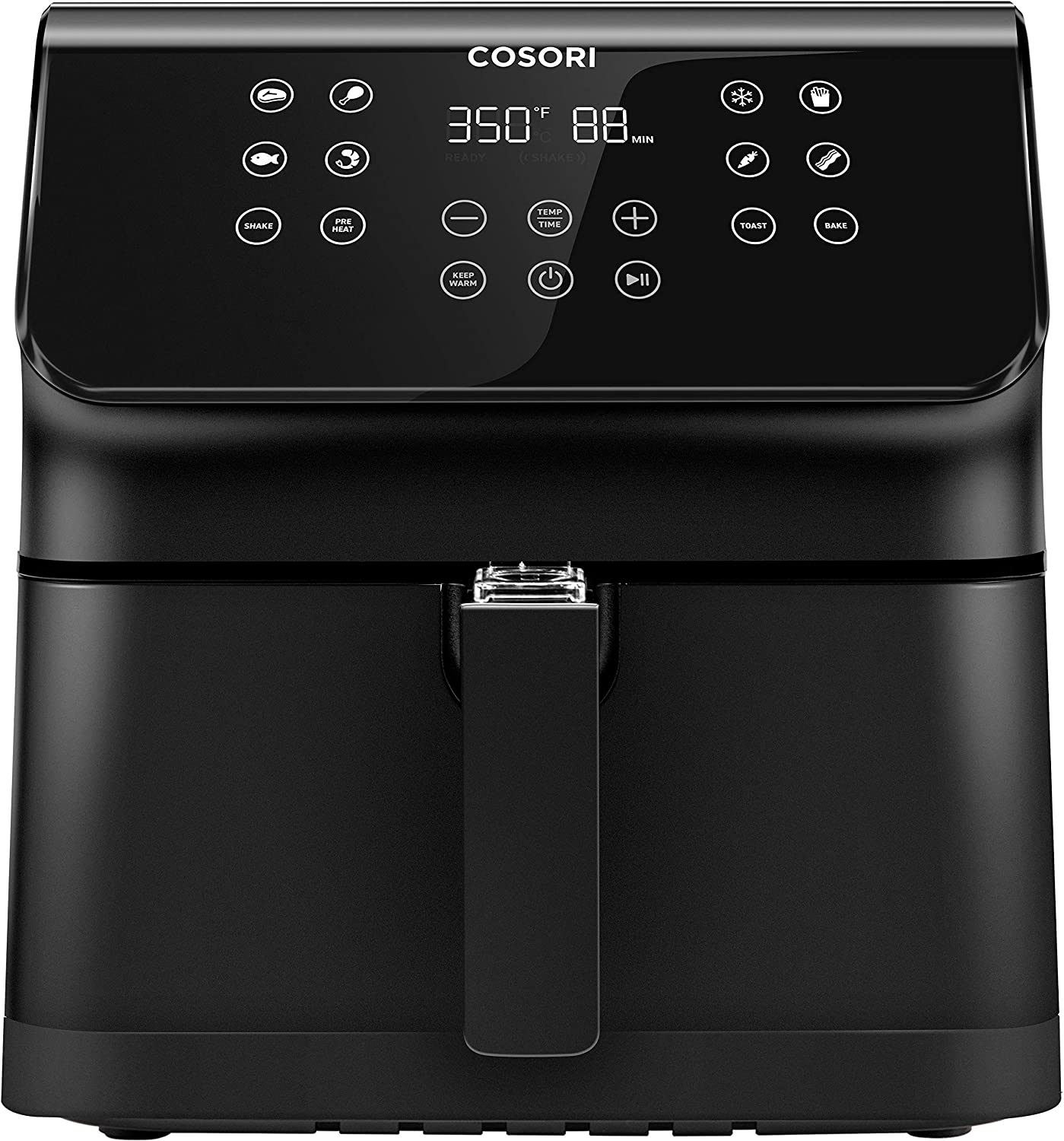 COSORI Air Fryer, Large XL 5.8 Quart 1700-Watt LED Digital Tilt One-Touchscreen with Preheat, Customizable 10 Presets & Shake Reminder, 5.8QT, Black