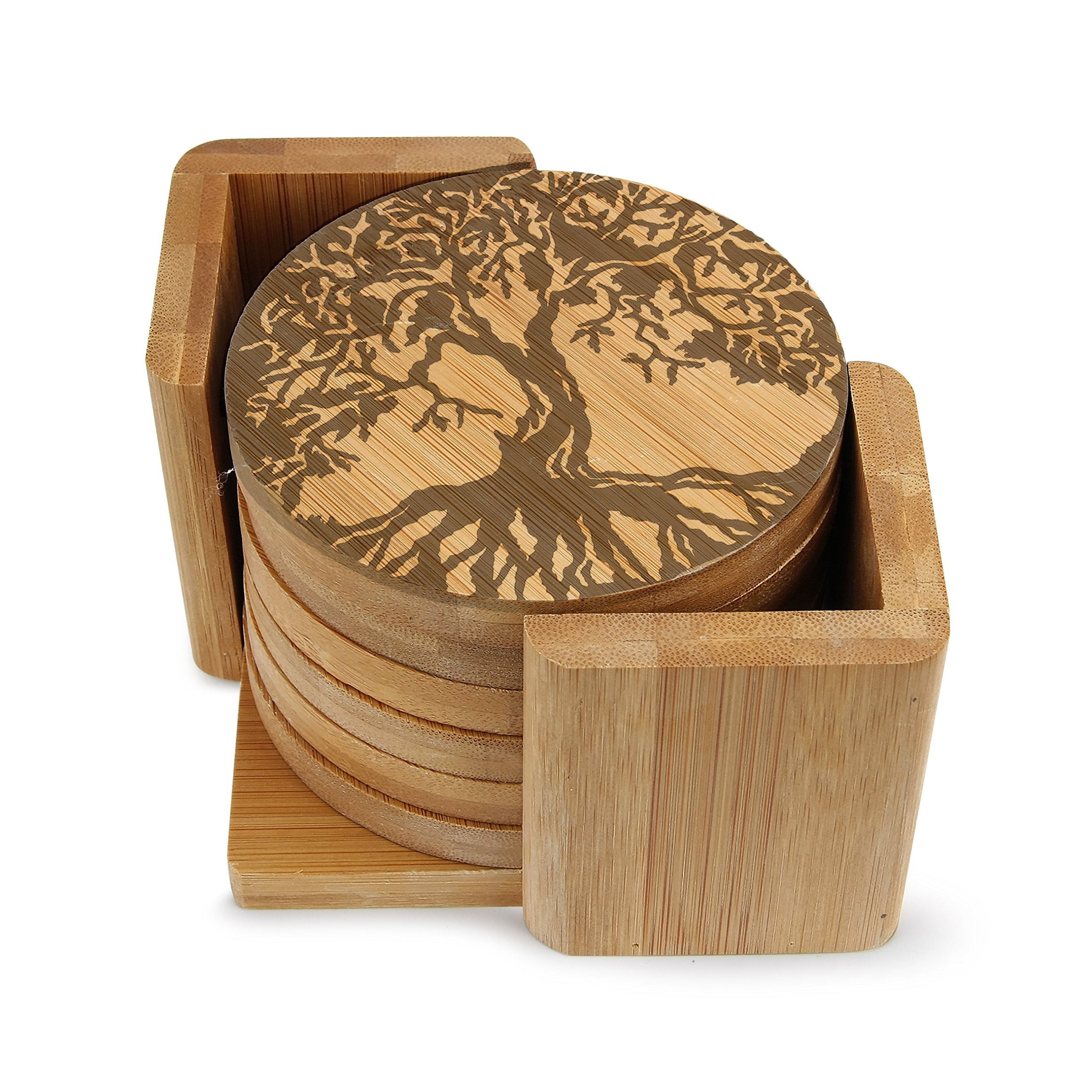 Personalized Engraved Round Wooden Coaster Tree of Life Wedding Gifts, Housewarming, Anniversary Giftset of 6 (Round set of 6C-1019-)