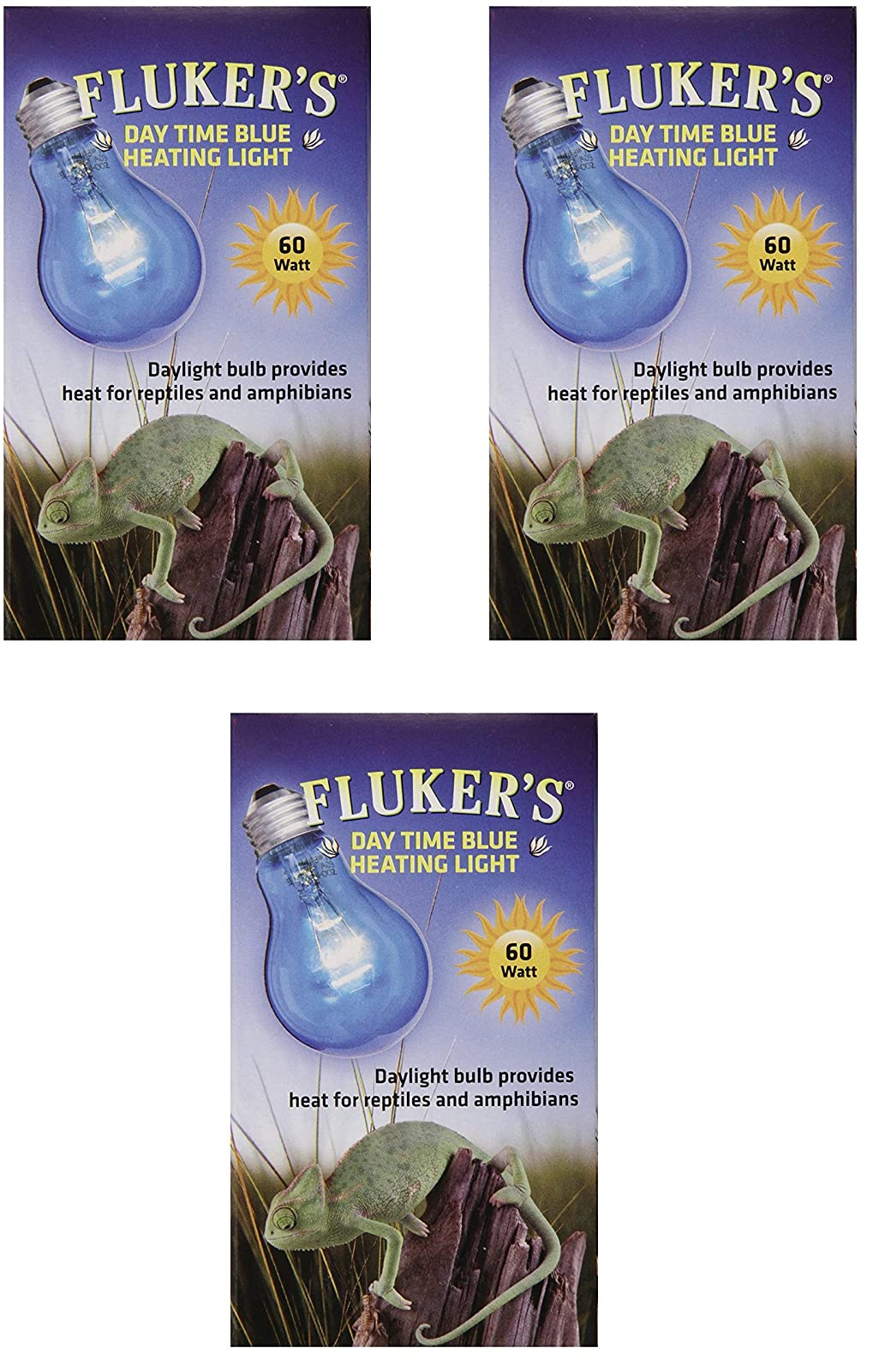 (3 Pack) Fluker Labs Reptile Incandescent Daylight Bulb for Pet Habitat, 60-watt, Blue - 1