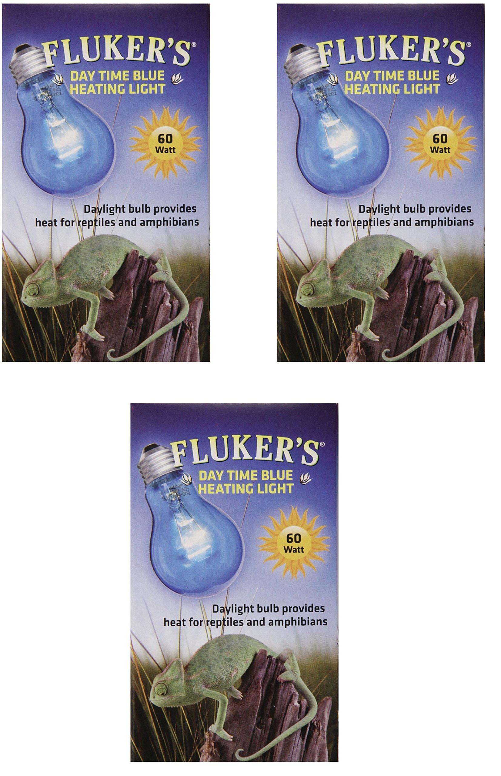(3 Pack) Fluker Labs Reptile Incandescent Daylight Bulb for Pet Habitat, 60-watt, Blue
