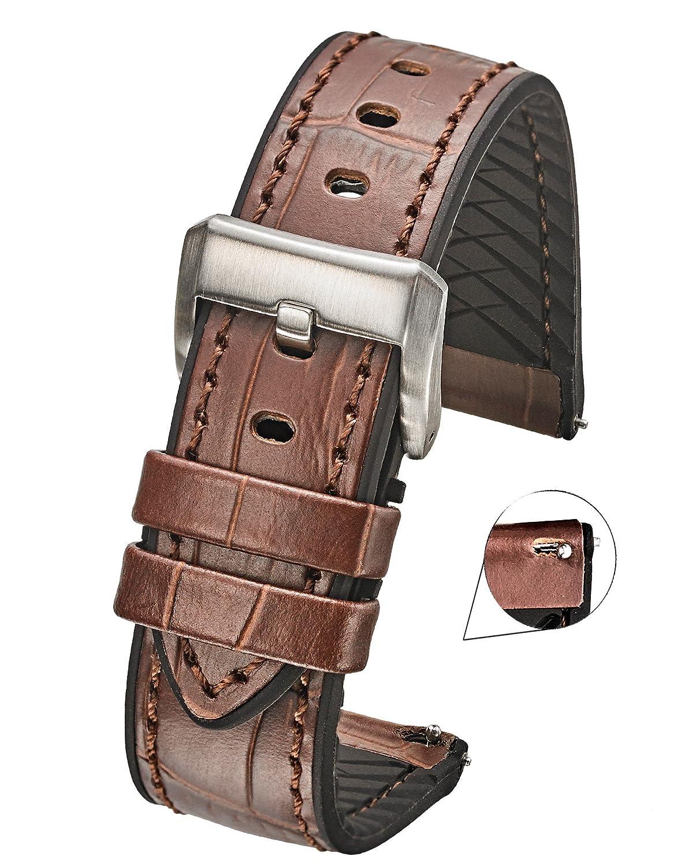 Genuine Alligator Grain Leather Watch Band withシリコン防水裏地とクイックリリーススチールスプリングバー – ブラック/レッド、ブラック/ブルー、ブラック/イエロー、ブラック/オレンジ – 20 mm、22 mm, 24 mm 20MM ブラウン/ブラック B07D8GFL1H 20MM ブラウン/ブラック ブラウン/ブラック 20MM